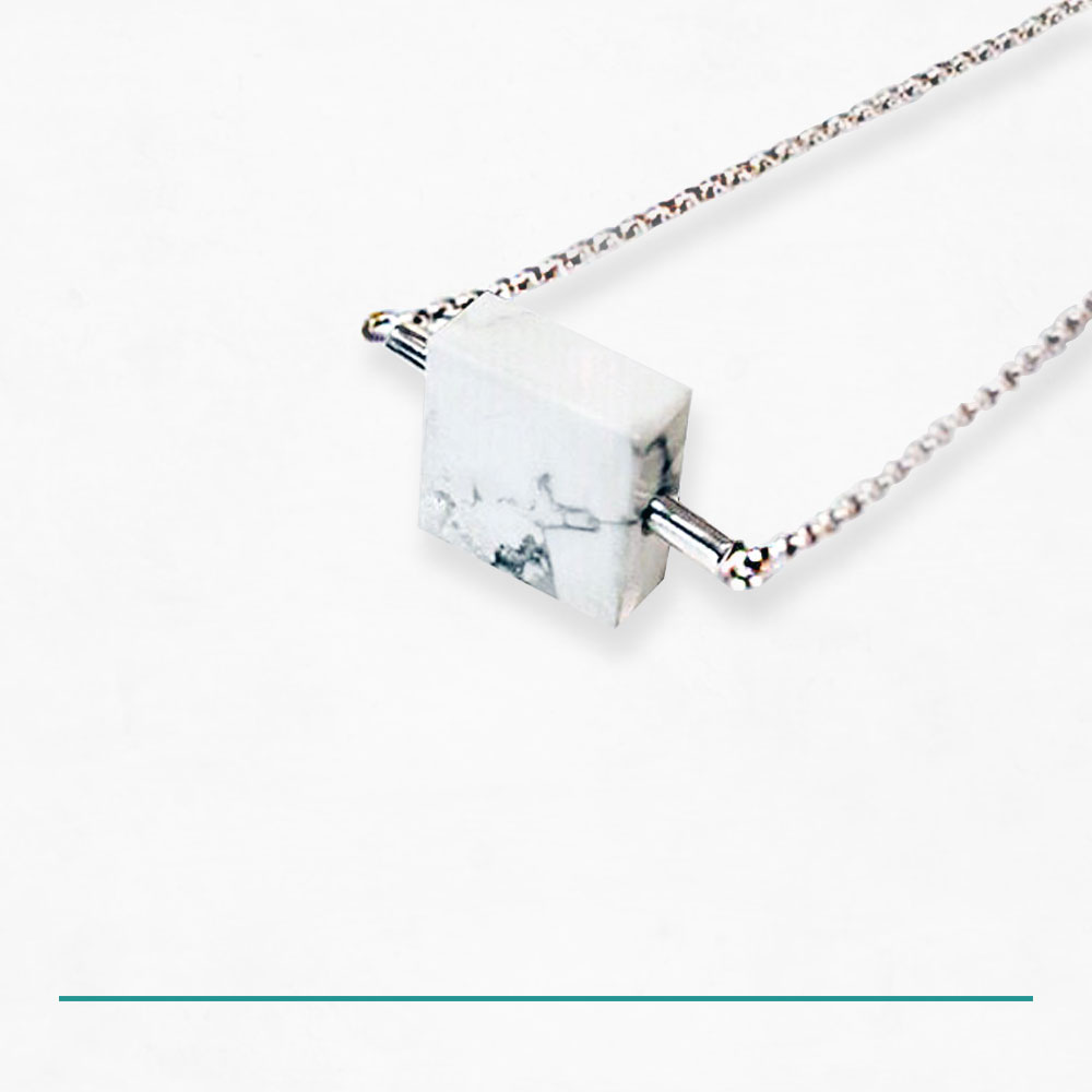 WHITE MARBLE CUBE NECKLACE